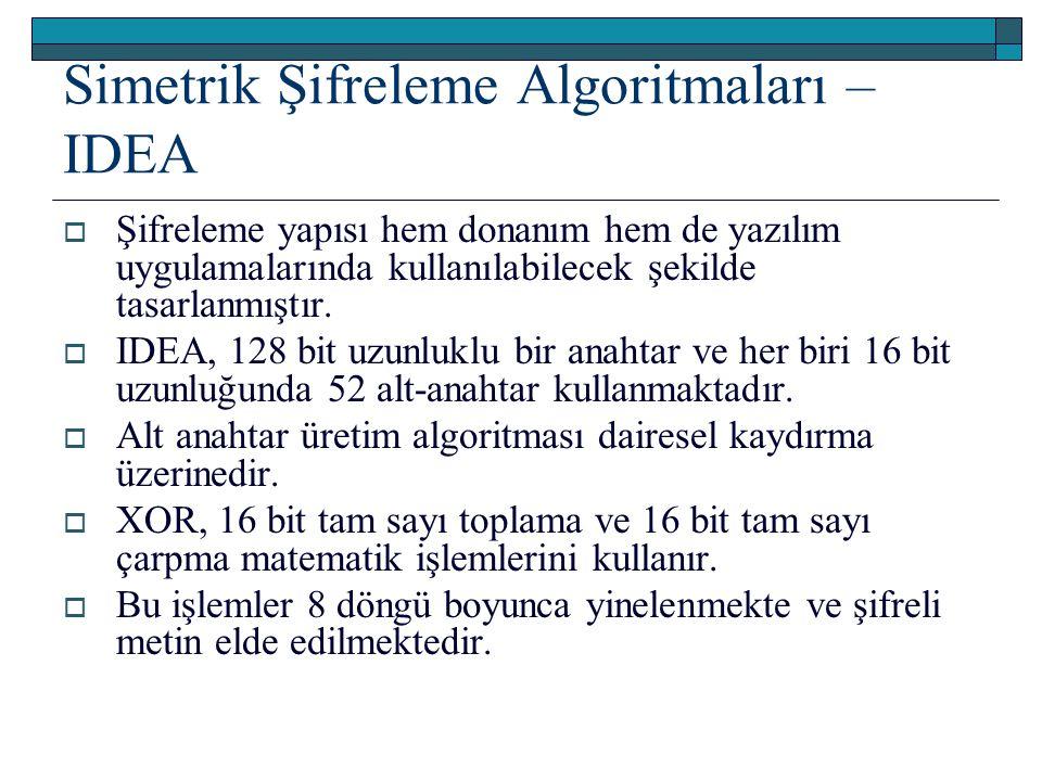 Simetrik Şifreleme Algoritmaları – IDEA  Şifreleme yapısı hem donanım hem de yazılım uygulamalarında kullanılabilecek şekilde tasarlanmıştır.  IDEA,