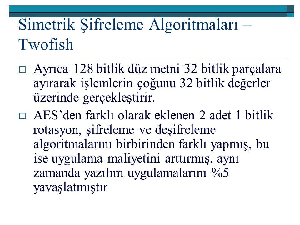 Simetrik Şifreleme Algoritmaları – Twofish  Ayrıca 128 bitlik düz metni 32 bitlik parçalara ayırarak işlemlerin çoğunu 32 bitlik değerler üzerinde gerçekleştirir.