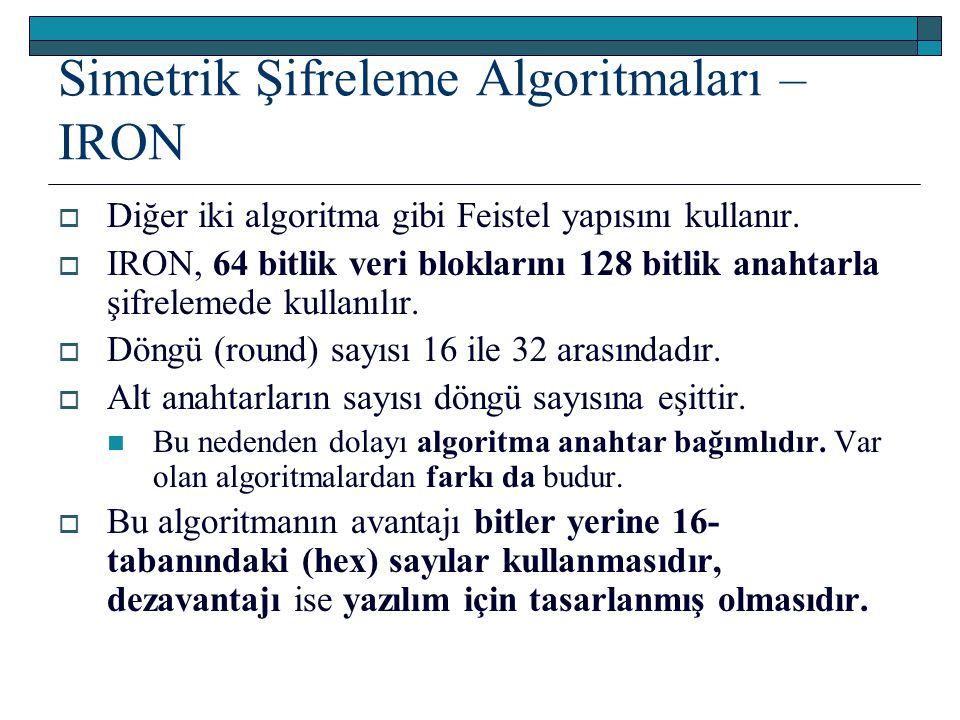 Simetrik Şifreleme Algoritmaları – IRON  Diğer iki algoritma gibi Feistel yapısını kullanır.  IRON, 64 bitlik veri bloklarını 128 bitlik anahtarla ş
