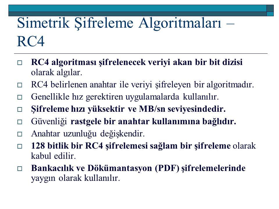 Simetrik Şifreleme Algoritmaları – RC4  RC4 algoritması şifrelenecek veriyi akan bir bit dizisi olarak algılar.  RC4 belirlenen anahtar ile veriyi ş