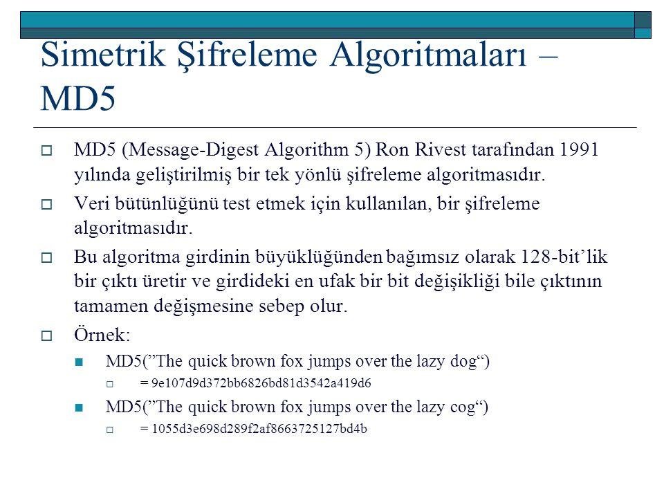 Simetrik Şifreleme Algoritmaları – MD5  MD5 (Message-Digest Algorithm 5) Ron Rivest tarafından 1991 yılında geliştirilmiş bir tek yönlü şifreleme algoritmasıdır.