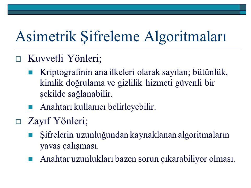 Asimetrik Şifreleme Algoritmaları  Kuvvetli Yönleri; Kriptografinin ana ilkeleri olarak sayılan; bütünlük, kimlik doğrulama ve gizlilik hizmeti güvenli bir şekilde sağlanabilir.