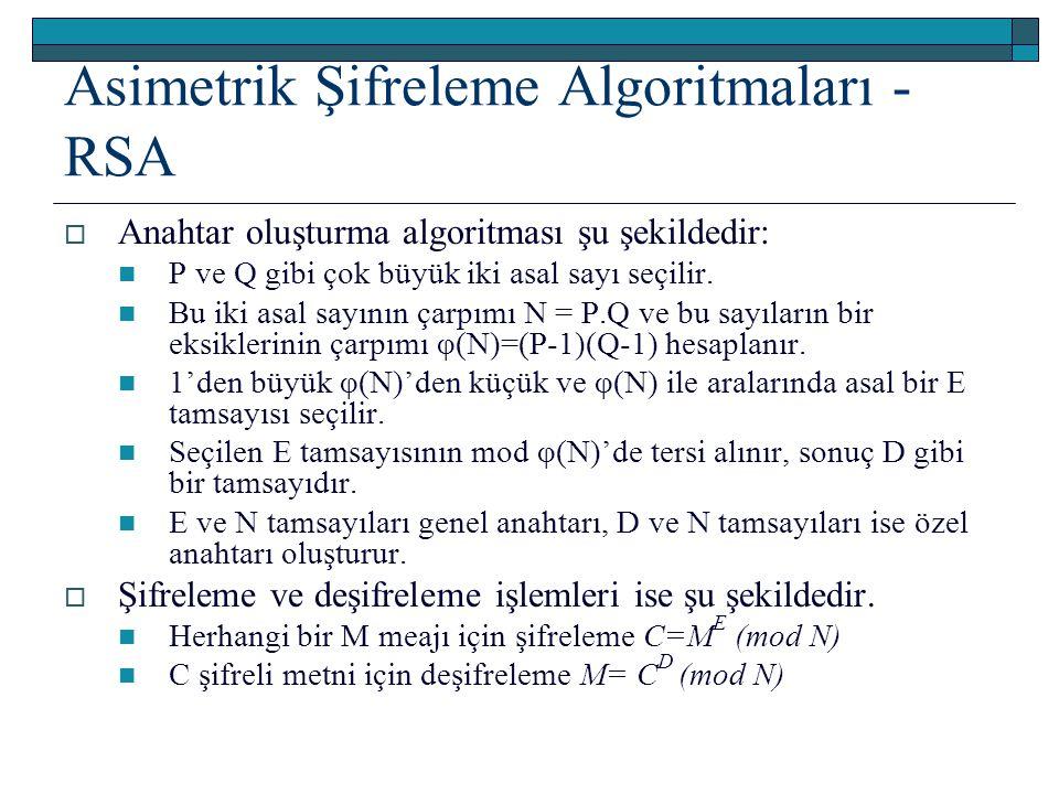 Asimetrik Şifreleme Algoritmaları - RSA  Anahtar oluşturma algoritması şu şekildedir: P ve Q gibi çok büyük iki asal sayı seçilir. Bu iki asal sayını