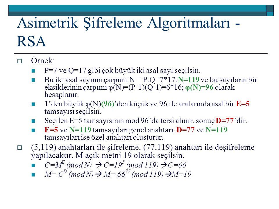 Asimetrik Şifreleme Algoritmaları - RSA  Örnek: P=7 ve Q=17 gibi çok büyük iki asal sayı seçilsin. Bu iki asal sayının çarpımı N = P.Q=7*17;N=119 ve