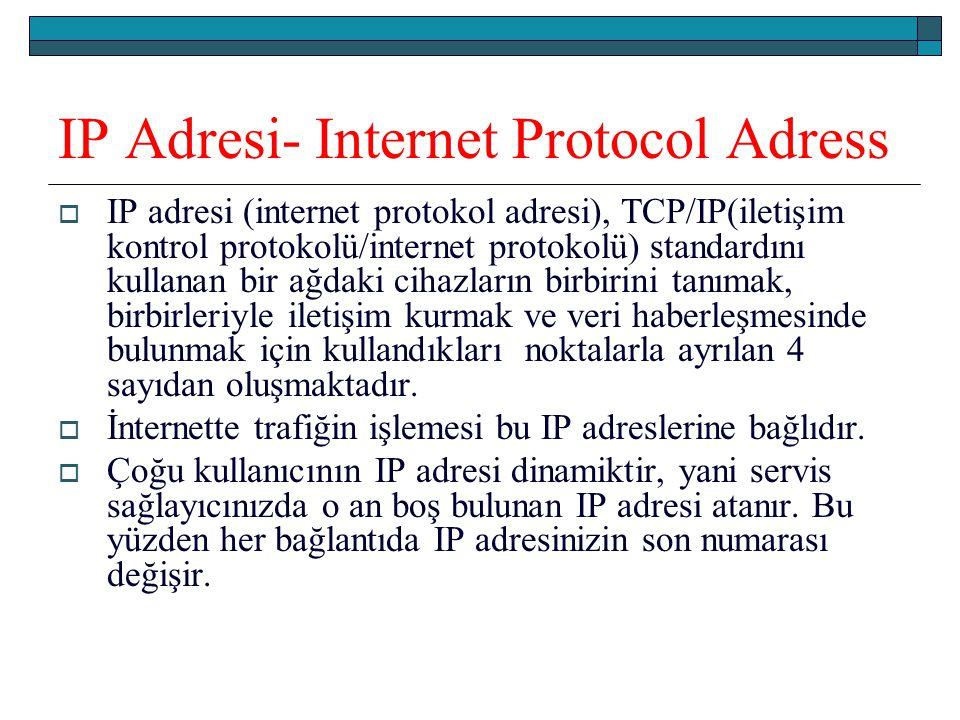 IP Adresi- Internet Protocol Adress  IP adresi (internet protokol adresi), TCP/IP(iletişim kontrol protokolü/internet protokolü) standardını kullanan bir ağdaki cihazların birbirini tanımak, birbirleriyle iletişim kurmak ve veri haberleşmesinde bulunmak için kullandıkları noktalarla ayrılan 4 sayıdan oluşmaktadır.