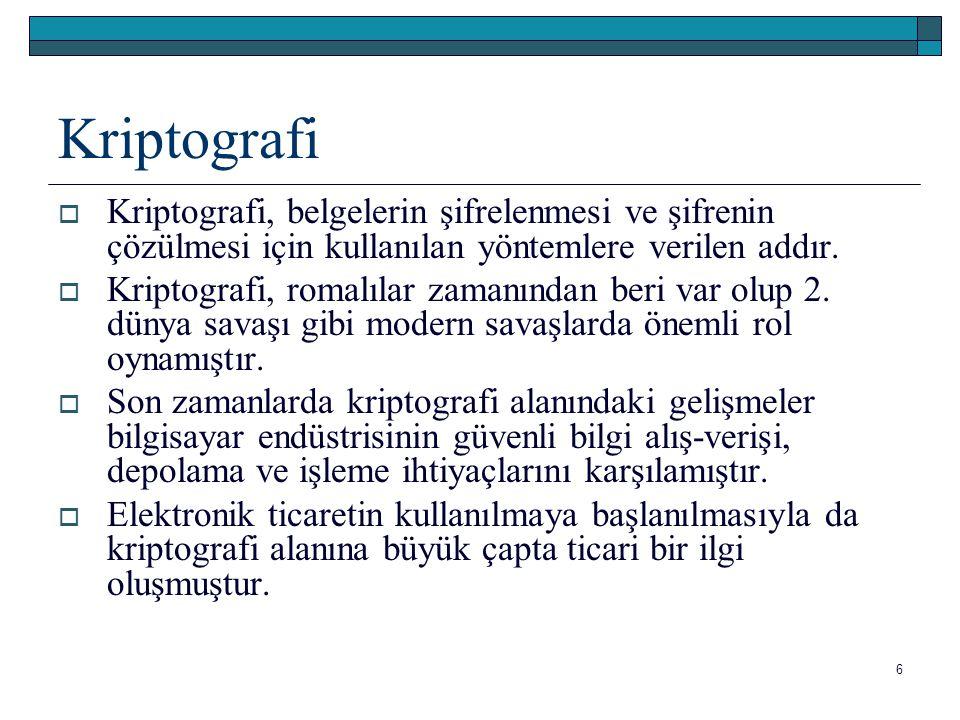 Kriptografi  Kriptografi, belgelerin şifrelenmesi ve şifrenin çözülmesi için kullanılan yöntemlere verilen addır.  Kriptografi, romalılar zamanından