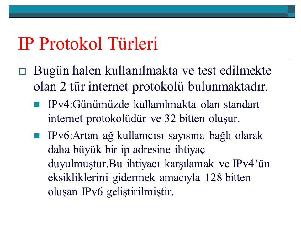 IP Protokol Türleri  Bugün halen kullanılmakta ve test edilmekte olan 2 tür internet protokolü bulunmaktadır. IPv4:Günümüzde kullanılmakta olan stand