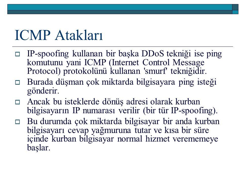 ICMP Atakları  IP-spoofing kullanan bir başka DDoS tekniği ise ping komutunu yani ICMP (Internet Control Message Protocol) protokolünü kullanan smurf tekniğidir.