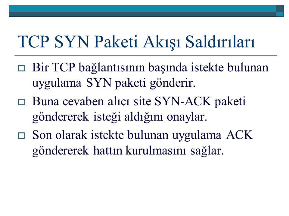 TCP SYN Paketi Akışı Saldırıları  Bir TCP bağlantısının başında istekte bulunan uygulama SYN paketi gönderir.  Buna cevaben alıcı site SYN-ACK paket