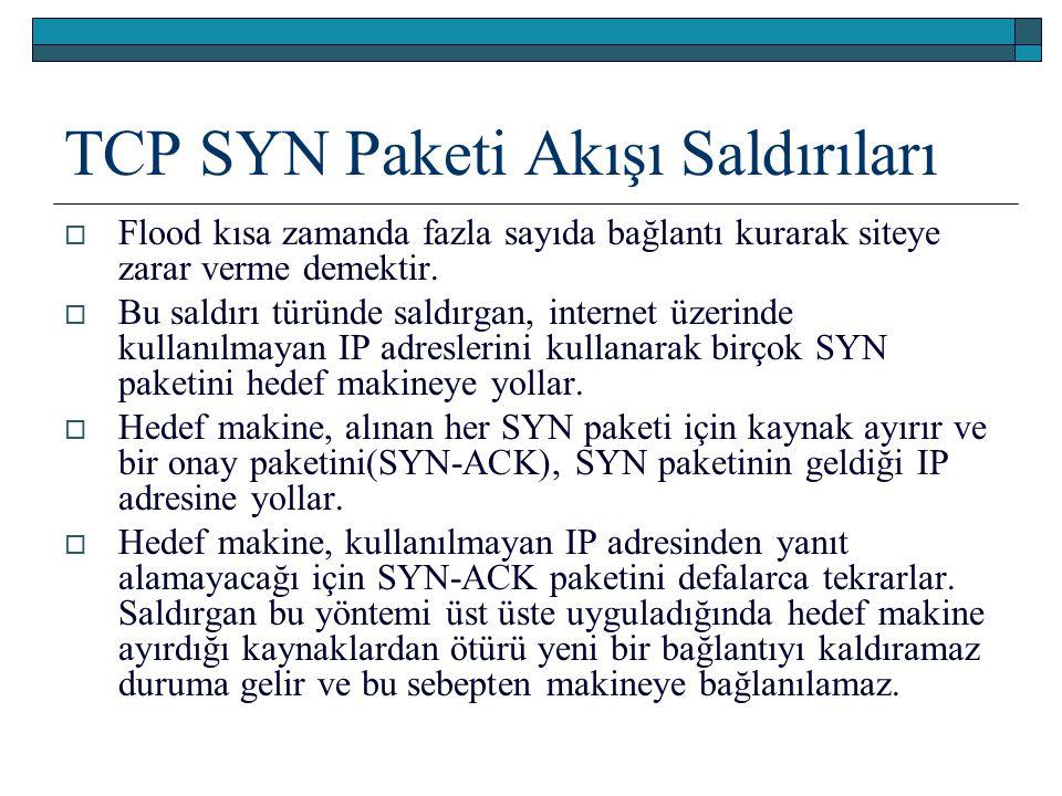 TCP SYN Paketi Akışı Saldırıları  Flood kısa zamanda fazla sayıda bağlantı kurarak siteye zarar verme demektir.  Bu saldırı türünde saldırgan, inter