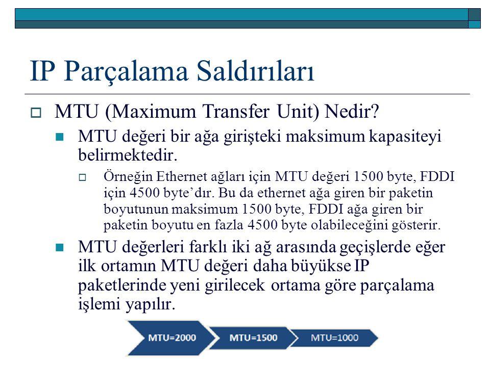 IP Parçalama Saldırıları  MTU (Maximum Transfer Unit) Nedir? MTU değeri bir ağa girişteki maksimum kapasiteyi belirmektedir.  Örneğin Ethernet ağlar