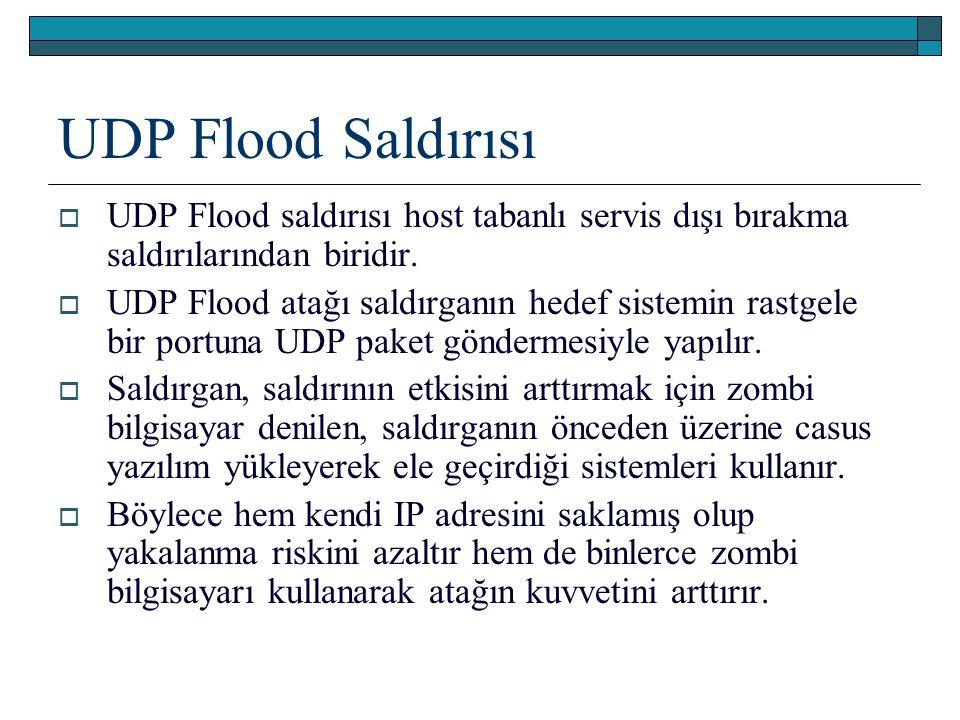 UDP Flood Saldırısı  UDP Flood saldırısı host tabanlı servis dışı bırakma saldırılarından biridir.  UDP Flood atağı saldırganın hedef sistemin rastg