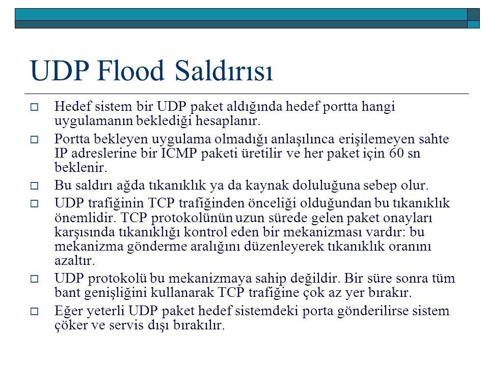 UDP Flood Saldırısı  Hedef sistem bir UDP paket aldığında hedef portta hangi uygulamanın beklediği hesaplanır.  Portta bekleyen uygulama olmadığı an