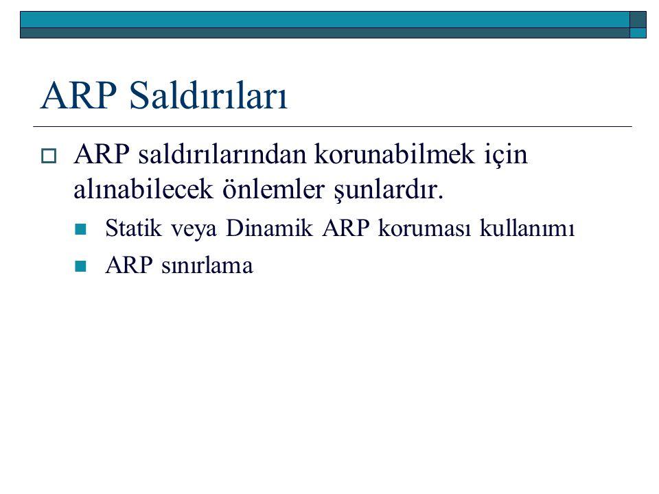 ARP Saldırıları  ARP saldırılarından korunabilmek için alınabilecek önlemler şunlardır. Statik veya Dinamik ARP koruması kullanımı ARP sınırlama