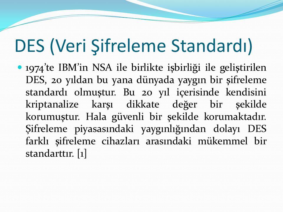 DES (Veri Şifreleme Standardı) 1974'te IBM'in NSA ile birlikte işbirliği ile geliştirilen DES, 20 yıldan bu yana dünyada yaygın bir şifreleme standardı olmuştur.