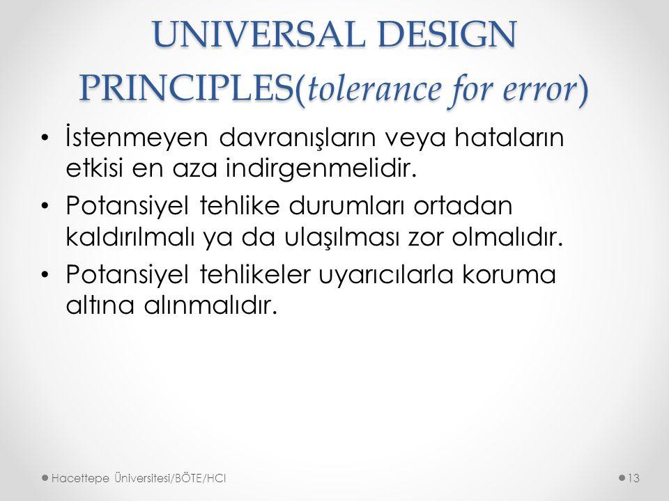 UNIVERSAL DESIGN PRINCIPLES(tolerance for error) İstenmeyen davranışların veya hataların etkisi en aza indirgenmelidir.
