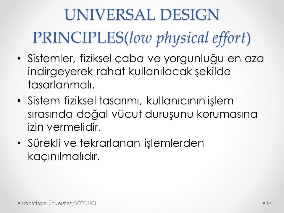 UNIVERSAL DESIGN PRINCIPLES(low physical effort) Sistemler, fiziksel çaba ve yorgunluğu en aza indirgeyerek rahat kullanılacak şekilde tasarlanmalı.