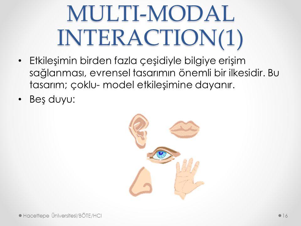 MULTI-MODAL INTERACTION(1) Etkileşimin birden fazla çeşidiyle bilgiye erişim sağlanması, evrensel tasarımın önemli bir ilkesidir.