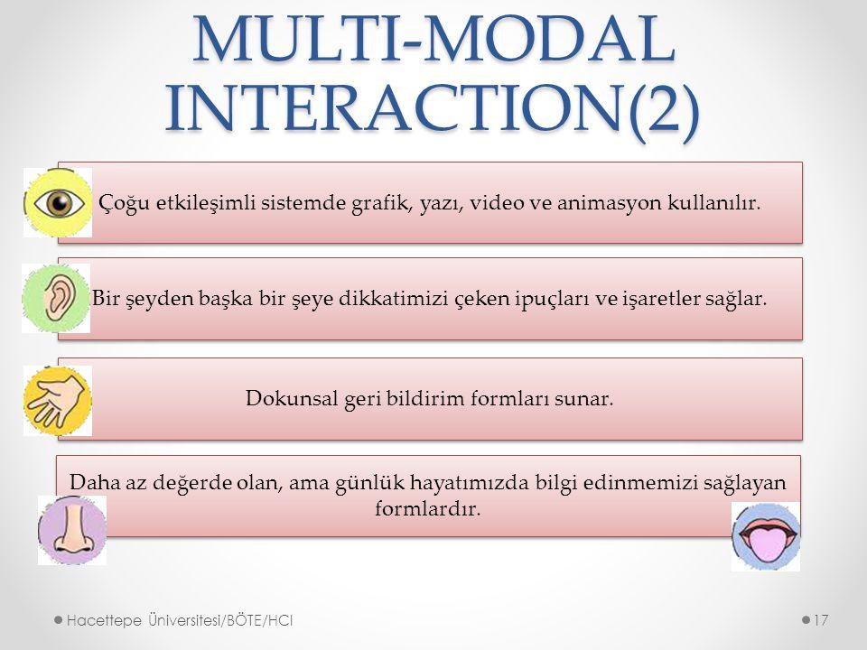 MULTI-MODAL INTERACTION(2) Çoğu etkileşimli sistemde grafik, yazı, video ve animasyon kullanılır.