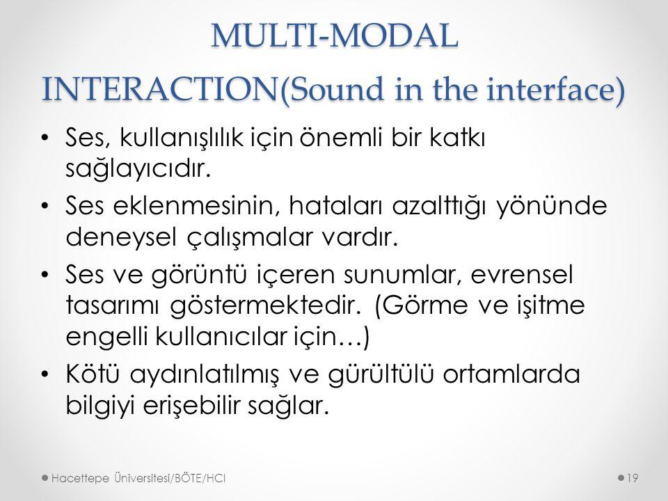 MULTI-MODAL INTERACTION(Sound in the interface) Ses, kullanışlılık için önemli bir katkı sağlayıcıdır.