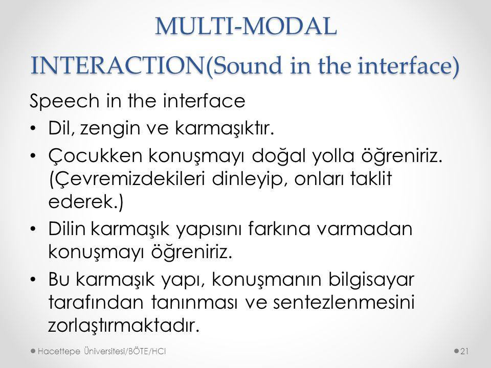 MULTI-MODAL INTERACTION(Sound in the interface) Speech in the interface Dil, zengin ve karmaşıktır.