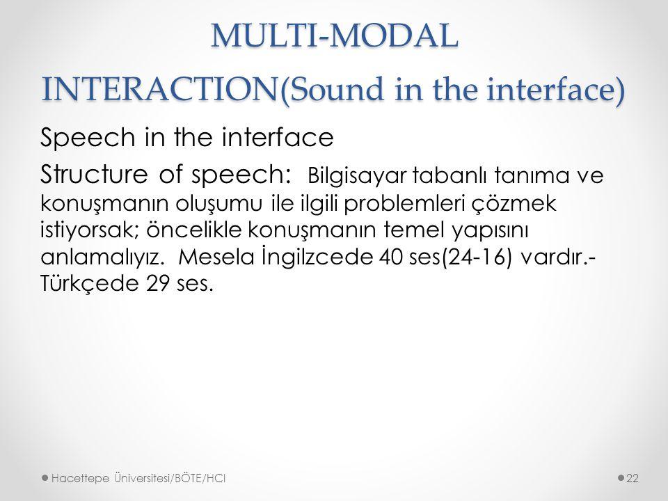 MULTI-MODAL INTERACTION(Sound in the interface) Speech in the interface Structure of speech: Bilgisayar tabanlı tanıma ve konuşmanın oluşumu ile ilgili problemleri çözmek istiyorsak; öncelikle konuşmanın temel yapısını anlamalıyız.