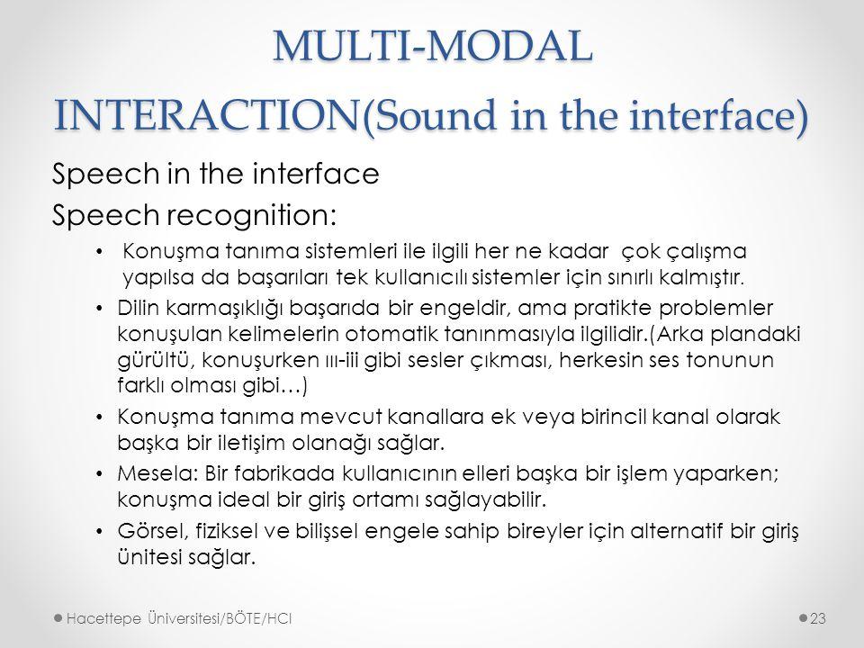 MULTI-MODAL INTERACTION(Sound in the interface) Speech in the interface Speech recognition: Konuşma tanıma sistemleri ile ilgili her ne kadar çok çalışma yapılsa da başarıları tek kullanıcılı sistemler için sınırlı kalmıştır.