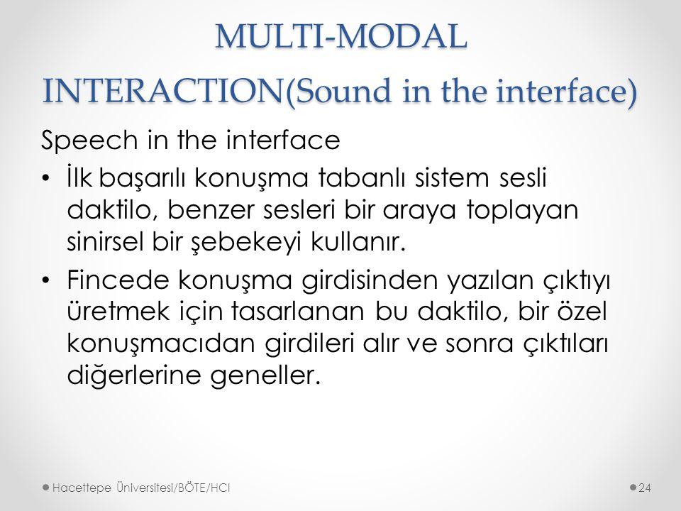 MULTI-MODAL INTERACTION(Sound in the interface) Speech in the interface İlk başarılı konuşma tabanlı sistem sesli daktilo, benzer sesleri bir araya toplayan sinirsel bir şebekeyi kullanır.