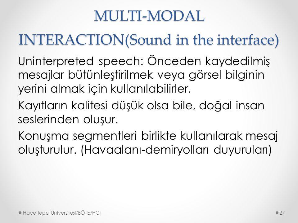 MULTI-MODAL INTERACTION(Sound in the interface) Uninterpreted speech: Önceden kaydedilmiş mesajlar bütünleştirilmek veya görsel bilginin yerini almak için kullanılabilirler.