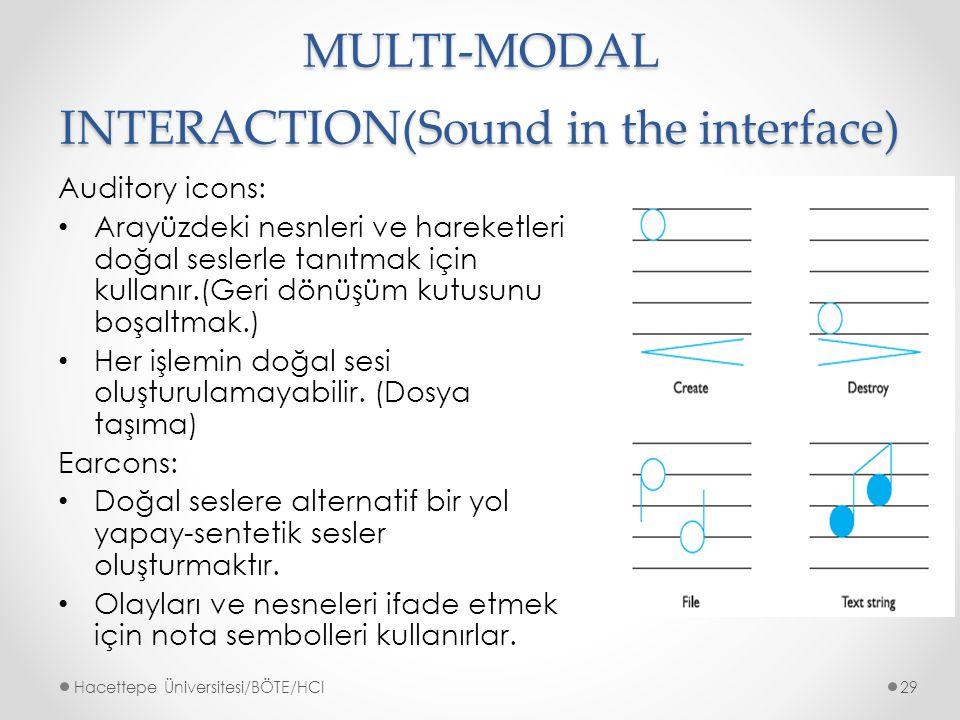MULTI-MODAL INTERACTION(Sound in the interface) Auditory icons: Arayüzdeki nesnleri ve hareketleri doğal seslerle tanıtmak için kullanır.(Geri dönüşüm kutusunu boşaltmak.) Her işlemin doğal sesi oluşturulamayabilir.