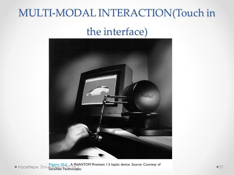 MULTI-MODAL INTERACTION(Touch in the interface) Hacettepe Üniversitesi/BÖTE/HCI31