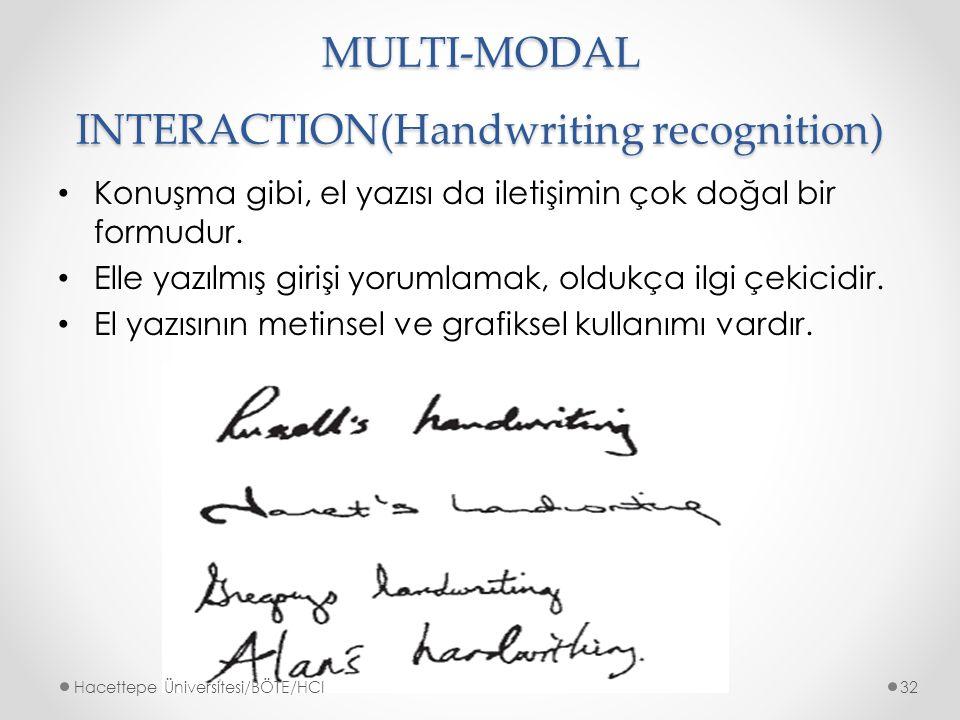 MULTI-MODAL INTERACTION(Handwriting recognition) Konuşma gibi, el yazısı da iletişimin çok doğal bir formudur.
