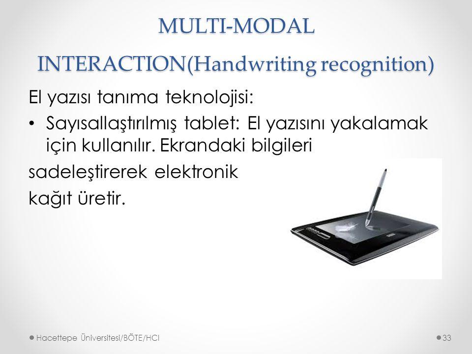 MULTI-MODAL INTERACTION(Handwriting recognition) El yazısı tanıma teknolojisi: Sayısallaştırılmış tablet: El yazısını yakalamak için kullanılır.