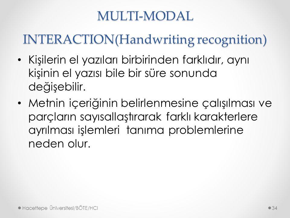 MULTI-MODAL INTERACTION(Handwriting recognition) Kişilerin el yazıları birbirinden farklıdır, aynı kişinin el yazısı bile bir süre sonunda değişebilir.
