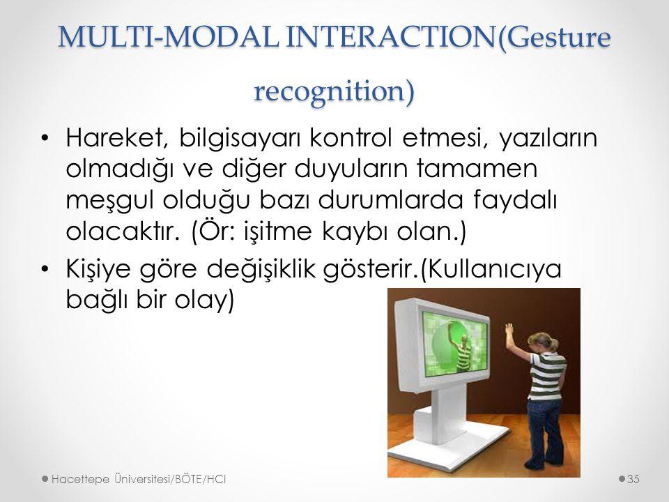 MULTI-MODAL INTERACTION(Gesture recognition) Hareket, bilgisayarı kontrol etmesi, yazıların olmadığı ve diğer duyuların tamamen meşgul olduğu bazı durumlarda faydalı olacaktır.