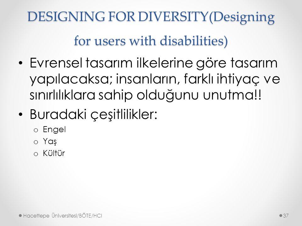 DESIGNING FOR DIVERSITY(Designing for users with disabilities) Evrensel tasarım ilkelerine göre tasarım yapılacaksa; insanların, farklı ihtiyaç ve sınırlılıklara sahip olduğunu unutma!.