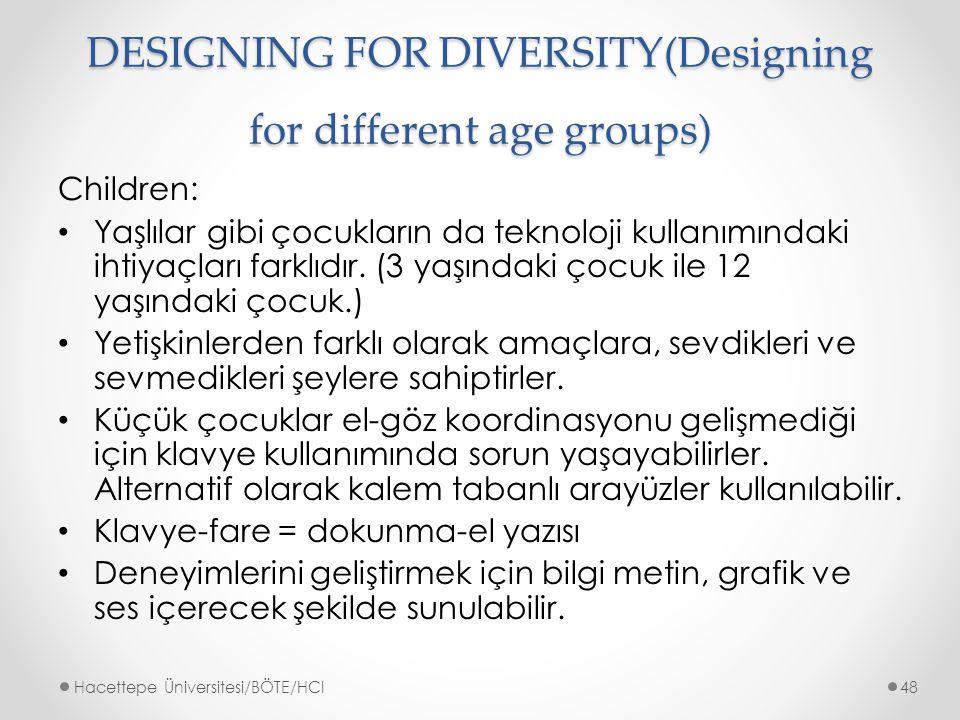 DESIGNING FOR DIVERSITY(Designing for different age groups) Children: Yaşlılar gibi çocukların da teknoloji kullanımındaki ihtiyaçları farklıdır.