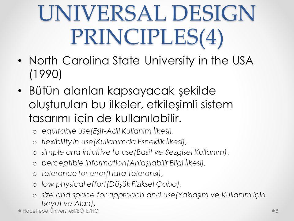 UNIVERSAL DESIGN PRINCIPLES(4) North Carolina State University in the USA (1990) Bütün alanları kapsayacak şekilde oluşturulan bu ilkeler, etkileşimli sistem tasarımı için de kullanılabilir.