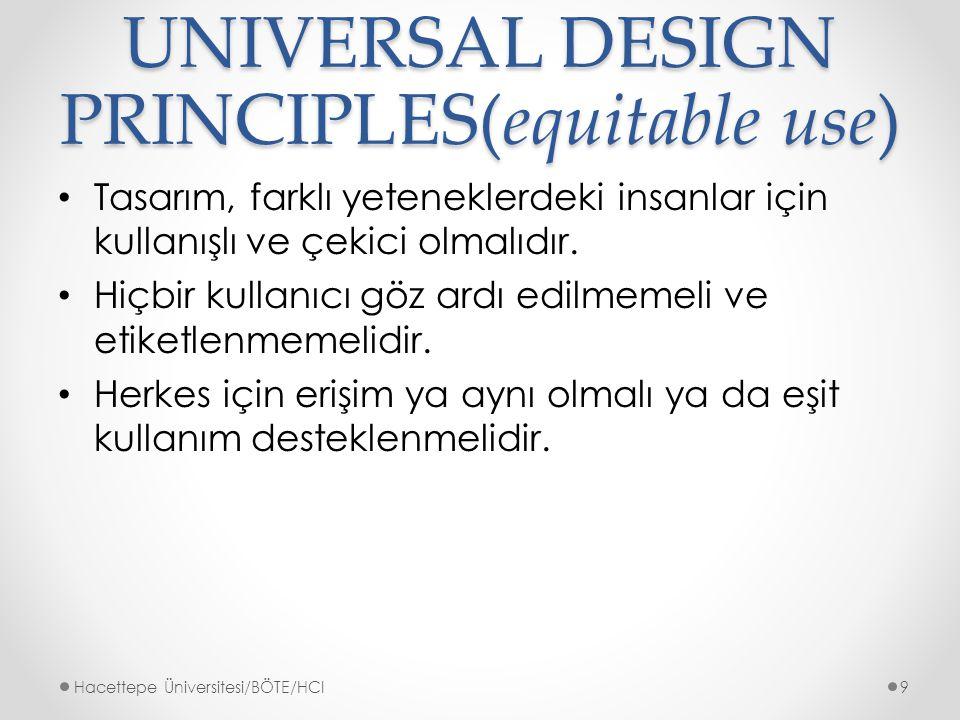 UNIVERSAL DESIGN PRINCIPLES(equitable use) Tasarım, farklı yeteneklerdeki insanlar için kullanışlı ve çekici olmalıdır.