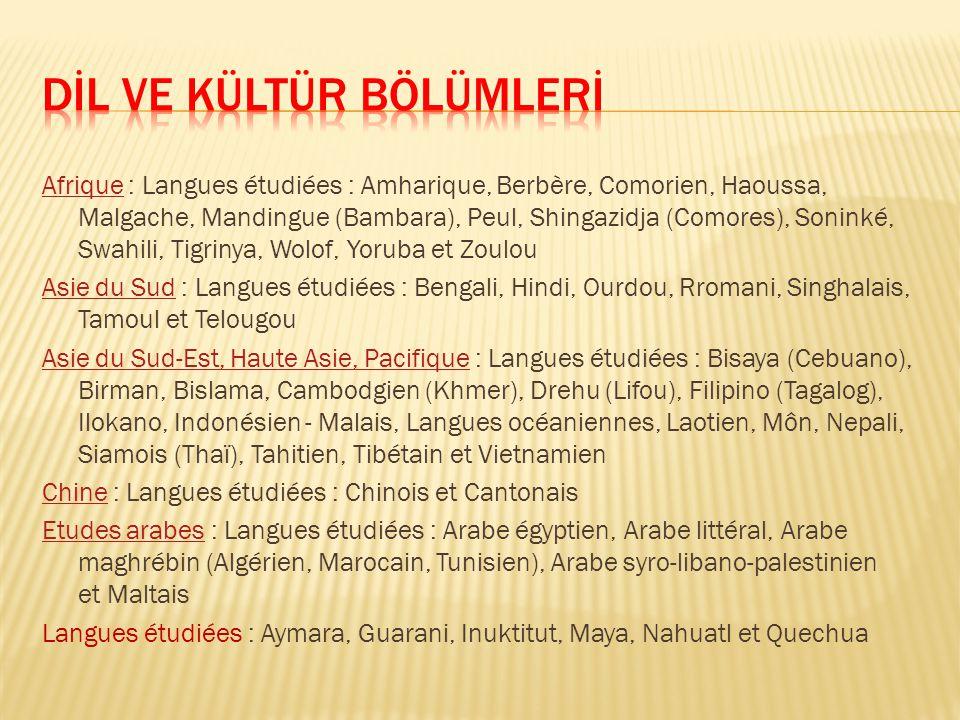 AfriqueAfrique : Langues étudiées : Amharique, Berbère, Comorien, Haoussa, Malgache, Mandingue (Bambara), Peul, Shingazidja (Comores), Soninké, Swahil