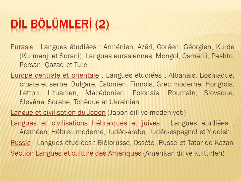 EurasieEurasie : Langues étudiées : Arménien, Azéri, Coréen, Géorgien, Kurde (Kurmanji et Sorani), Langues eurasiennes, Mongol, Osmanli, Pashto, Persa