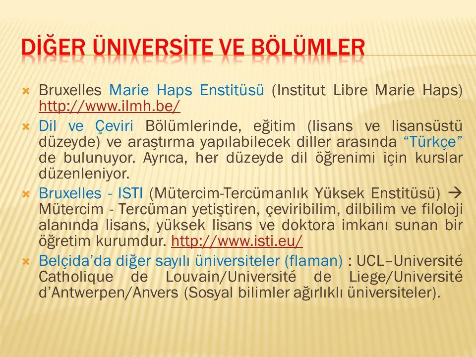  Bruxelles Marie Haps Enstitüsü (Institut Libre Marie Haps) http://www.ilmh.be/ http://www.ilmh.be/  Dil ve Çeviri Bölümlerinde, eğitim (lisans ve l