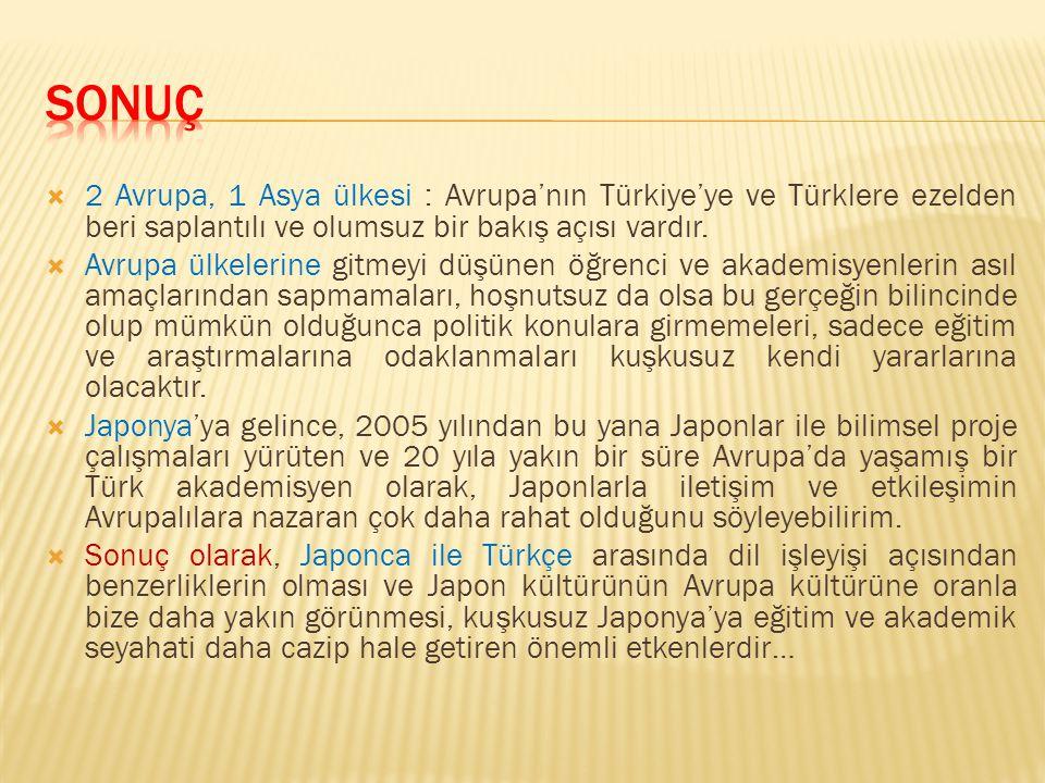  2 Avrupa, 1 Asya ülkesi : Avrupa'nın Türkiye'ye ve Türklere ezelden beri saplantılı ve olumsuz bir bakış açısı vardır.  Avrupa ülkelerine gitmeyi d
