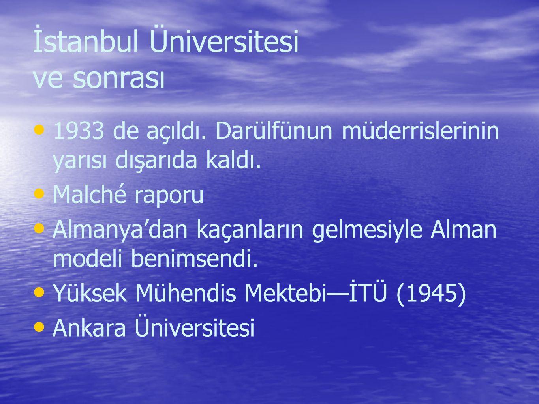 İstanbul Üniversitesi ve sonrası 1933 de açıldı.Darülfünun müderrislerinin yarısı dışarıda kaldı.