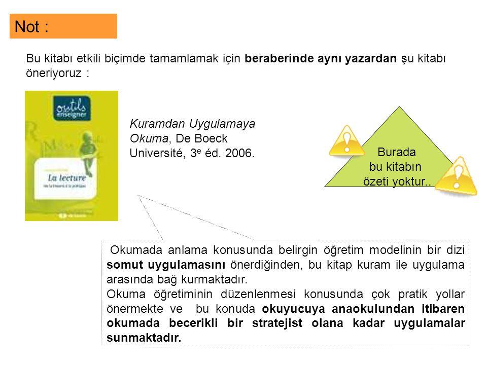 Kuramdan Uygulamaya Okuma, De Boeck Université, 3 e éd.