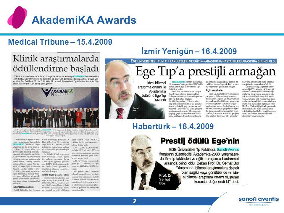 2 AkademiKA Awards Medical Tribune – 15.4.2009 İzmir Yenigün – 16.4.2009 Habertürk – 16.4.2009