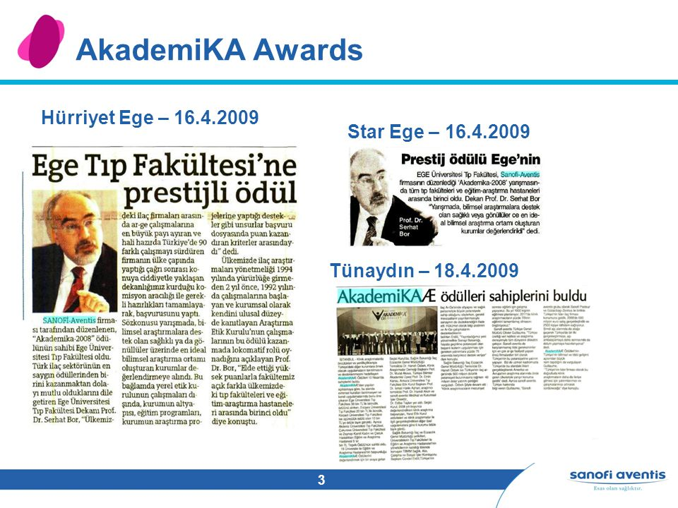 3 AkademiKA Awards Hürriyet Ege – 16.4.2009 Star Ege – 16.4.2009 Tünaydın – 18.4.2009