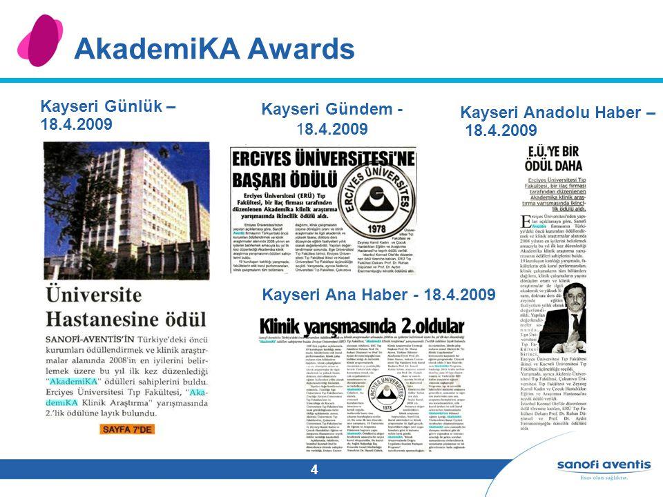 4 AkademiKA Awards Kayseri Günlük – 18.4.2009 Kayseri Gündem - 18.4.2009 Kayseri Anadolu Haber – 18.4.2009 Kayseri Ana Haber - 18.4.2009