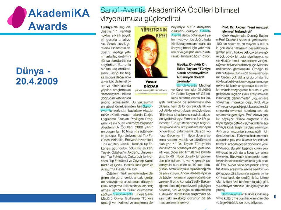 6 AkademiKA Awards Dünya - 20.4.2009
