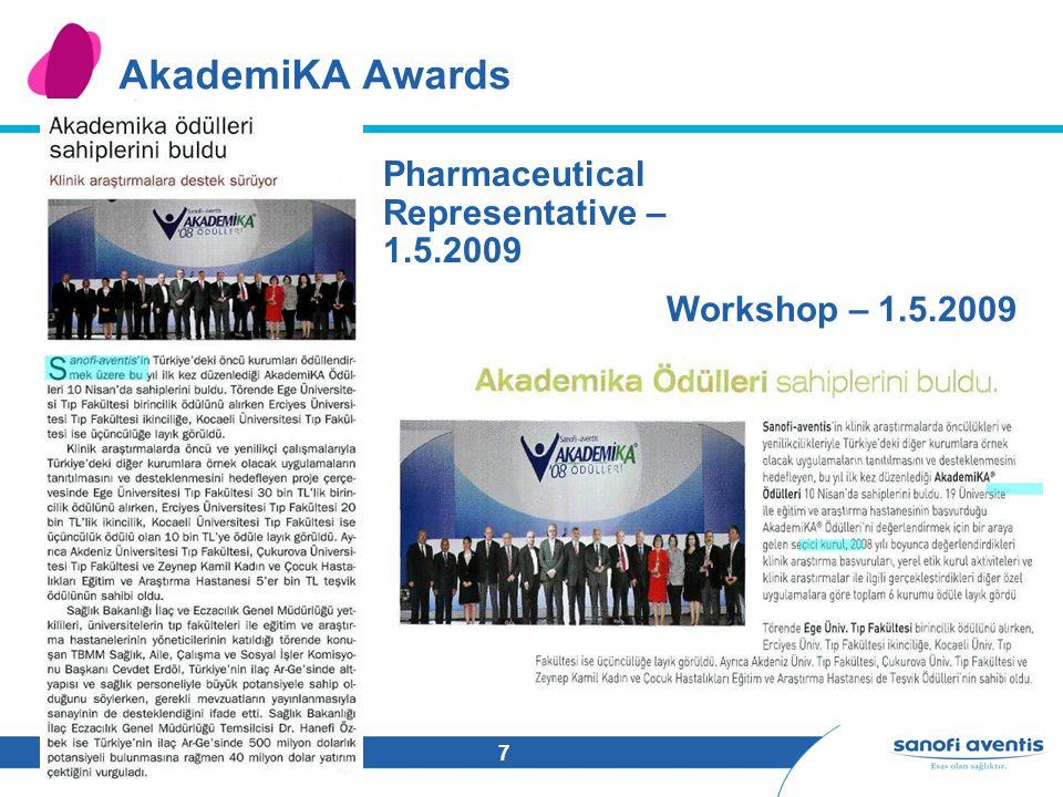 7 AkademiKA Awards Pharmaceutical Representative – 1.5.2009 Workshop – 1.5.2009